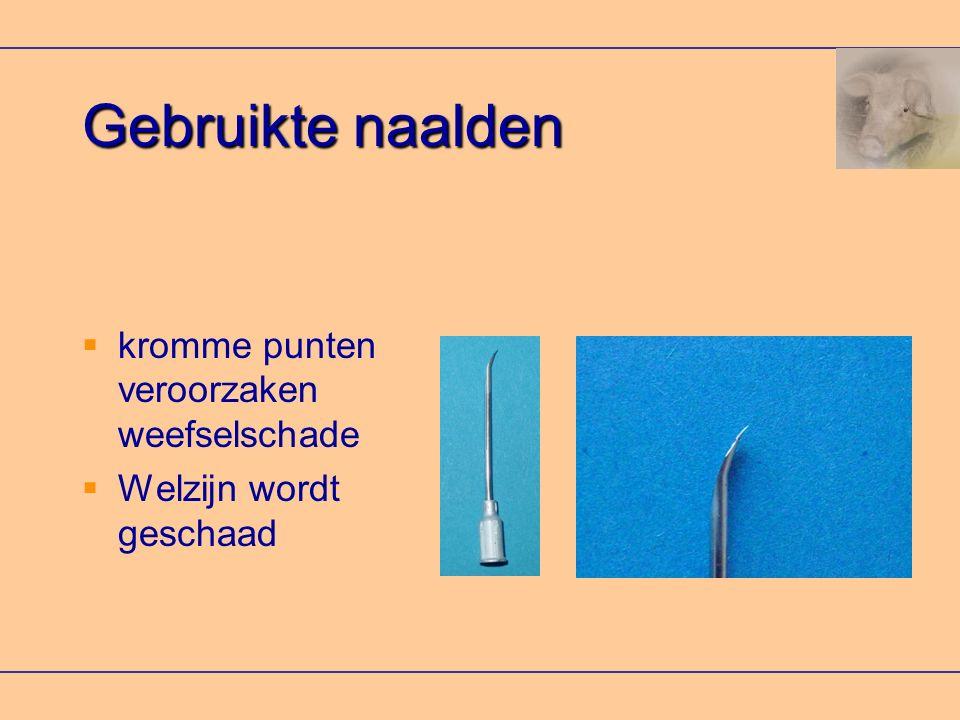 Gebruikte naalden kromme punten veroorzaken weefselschade