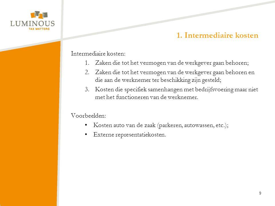 1. Intermediaire kosten Intermediaire kosten: