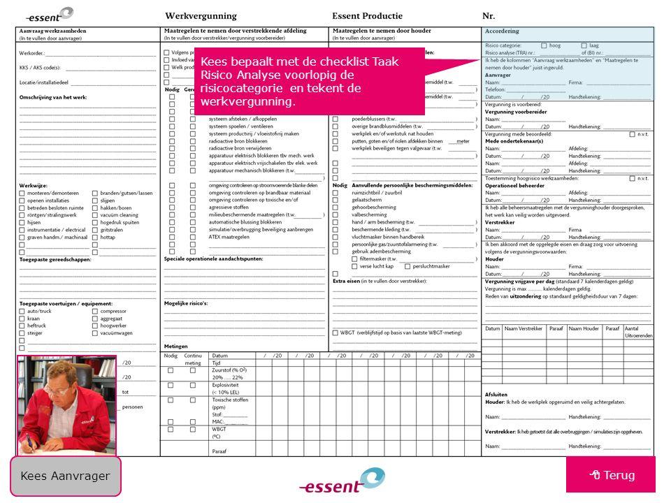 Kees bepaalt met de checklist Taak Risico Analyse voorlopig de risicocategorie en tekent de werkvergunning.