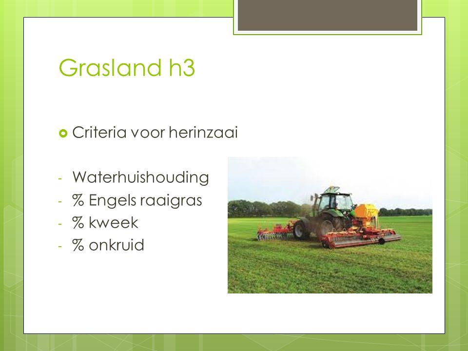 Grasland h3 Criteria voor herinzaai Waterhuishouding % Engels raaigras
