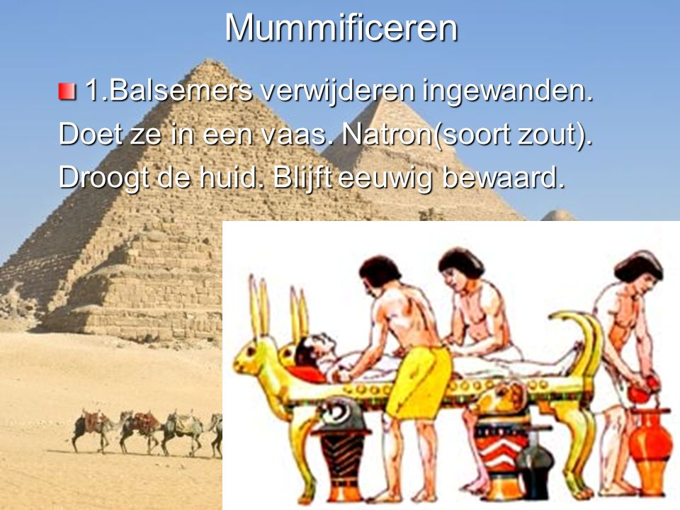 Mummificeren 1.Balsemers verwijderen ingewanden.