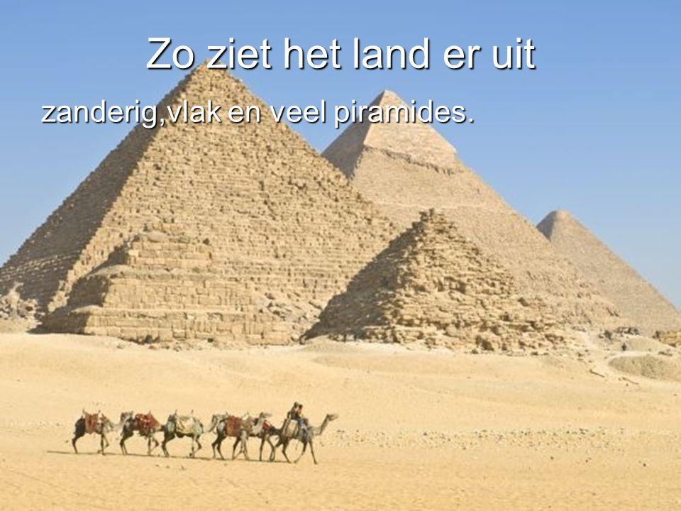 Zo ziet het land er uit zanderig,vlak en veel piramides.