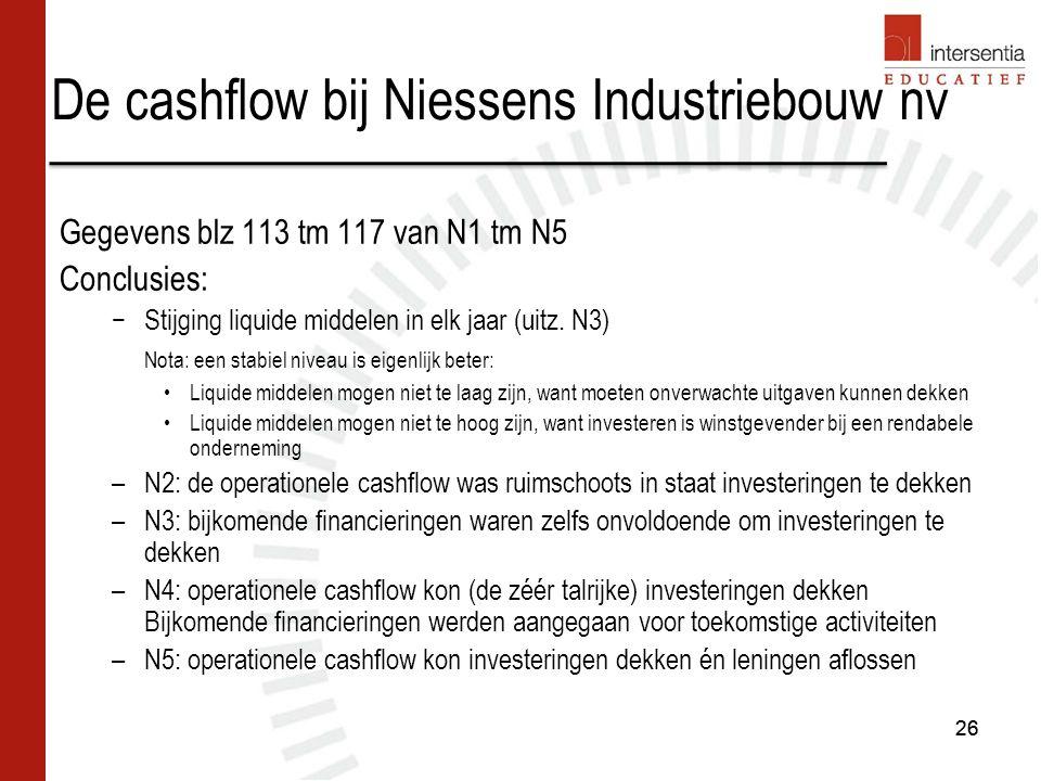 De cashflow bij Niessens Industriebouw nv