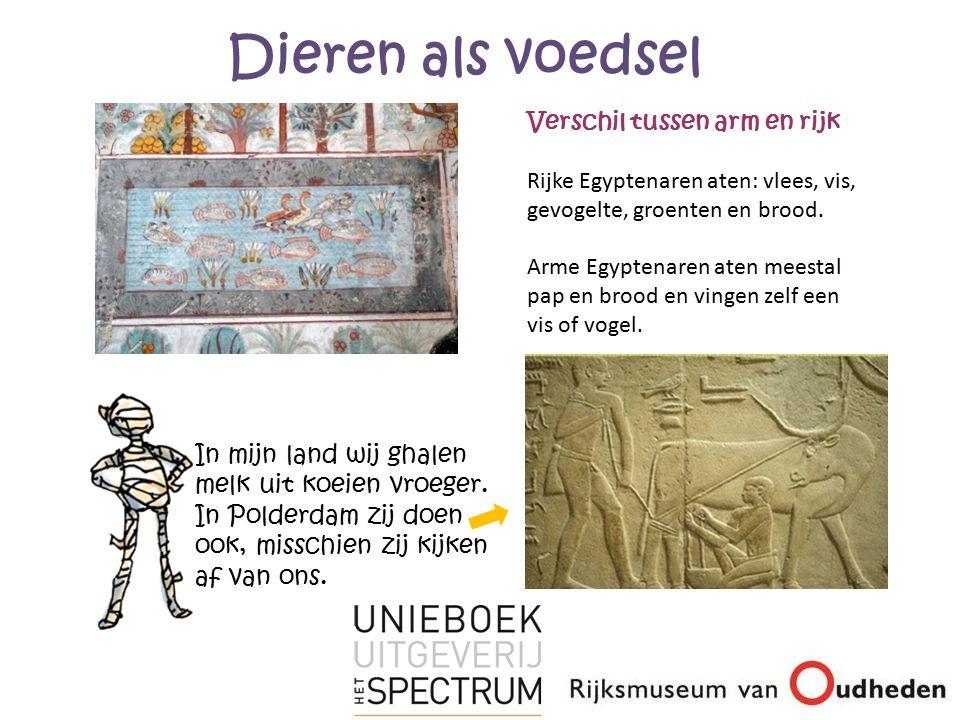 Dieren als voedsel Verschil tussen arm en rijk. Rijke Egyptenaren aten: vlees, vis, gevogelte, groenten en brood.