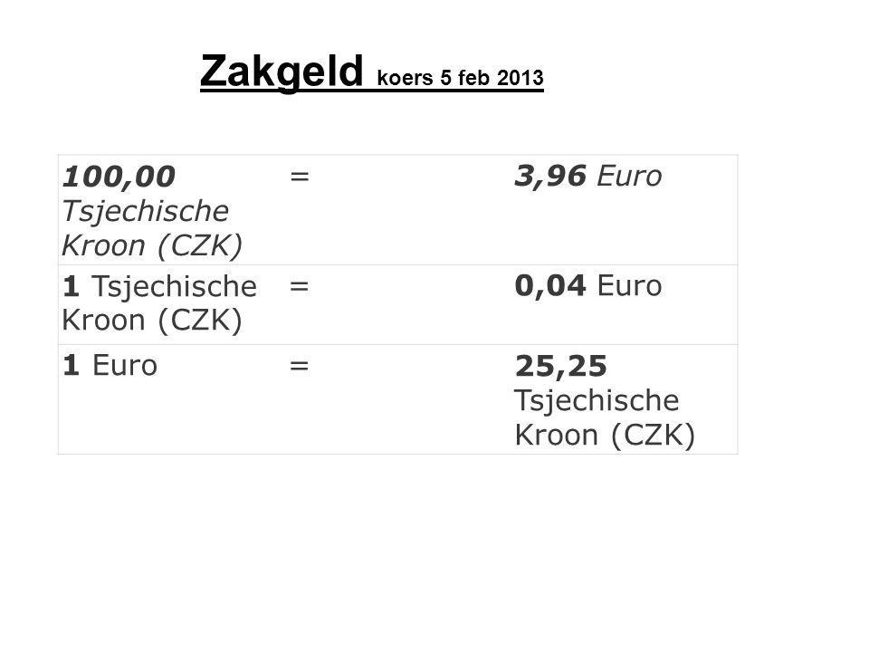 Zakgeld koers 5 feb 2013 100,00 Tsjechische Kroon (CZK) = 3,96 Euro