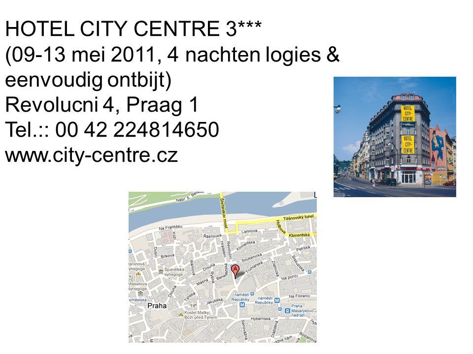 HOTEL CITY CENTRE 3*** (09-13 mei 2011, 4 nachten logies & eenvoudig ontbijt) Revolucni 4, Praag 1.