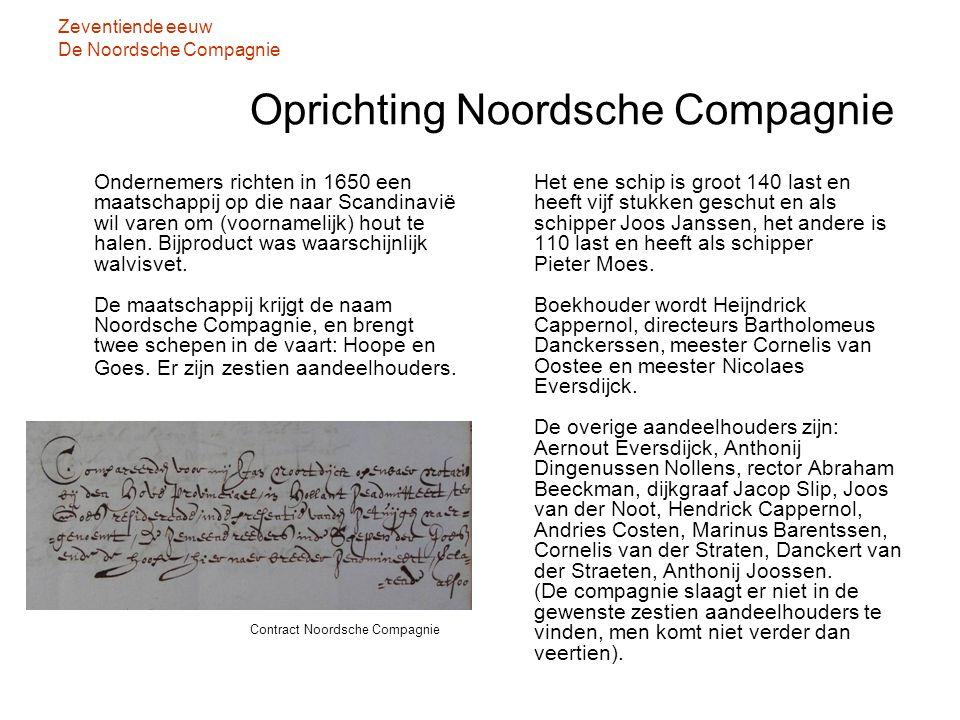 Zeventiende eeuw De Noordsche Compagnie Oprichting Noordsche Compagnie