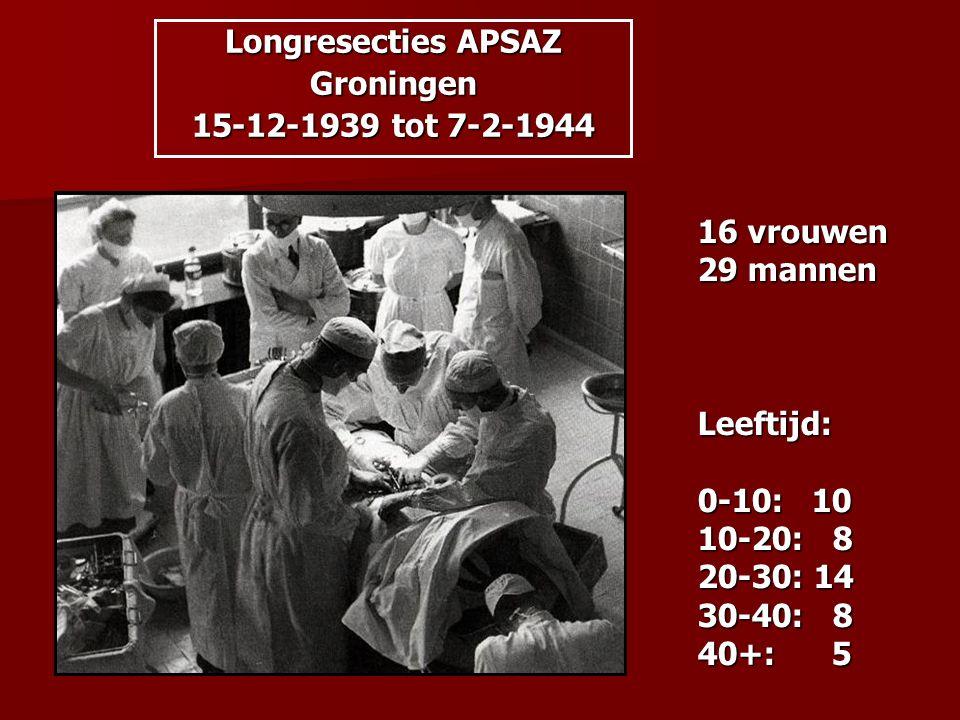 Longresecties APSAZ Groningen 15-12-1939 tot 7-2-1944