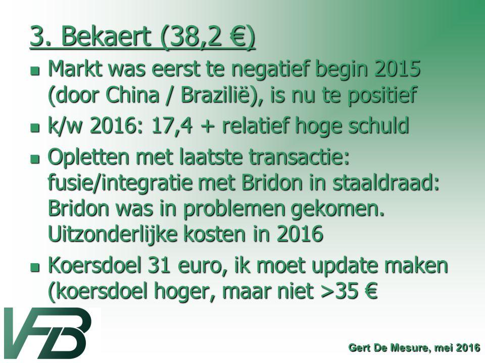 3. Bekaert (38,2 €) Markt was eerst te negatief begin 2015 (door China / Brazilië), is nu te positief.