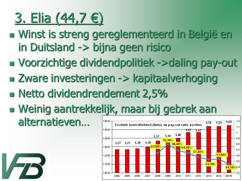 3. Elia (44,7 €) Winst is streng gereglementeerd in België en in Duitsland -> bijna geen risico. Voorzichtige dividendpolitiek ->daling pay-out.