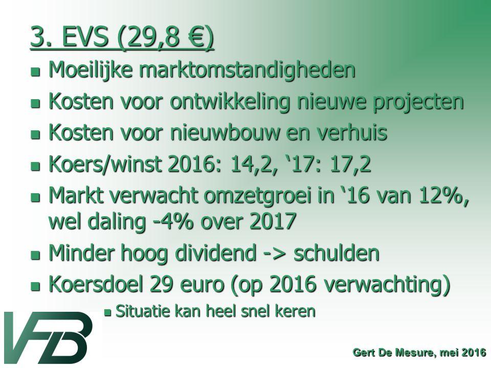 3. EVS (29,8 €) Moeilijke marktomstandigheden