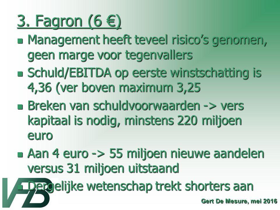 3. Fagron (6 €) Management heeft teveel risico's genomen, geen marge voor tegenvallers.