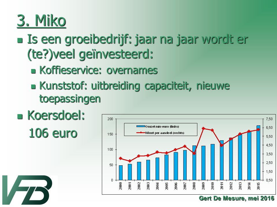 3. Miko Is een groeibedrijf: jaar na jaar wordt er (te )veel geïnvesteerd: Koffieservice: overnames.