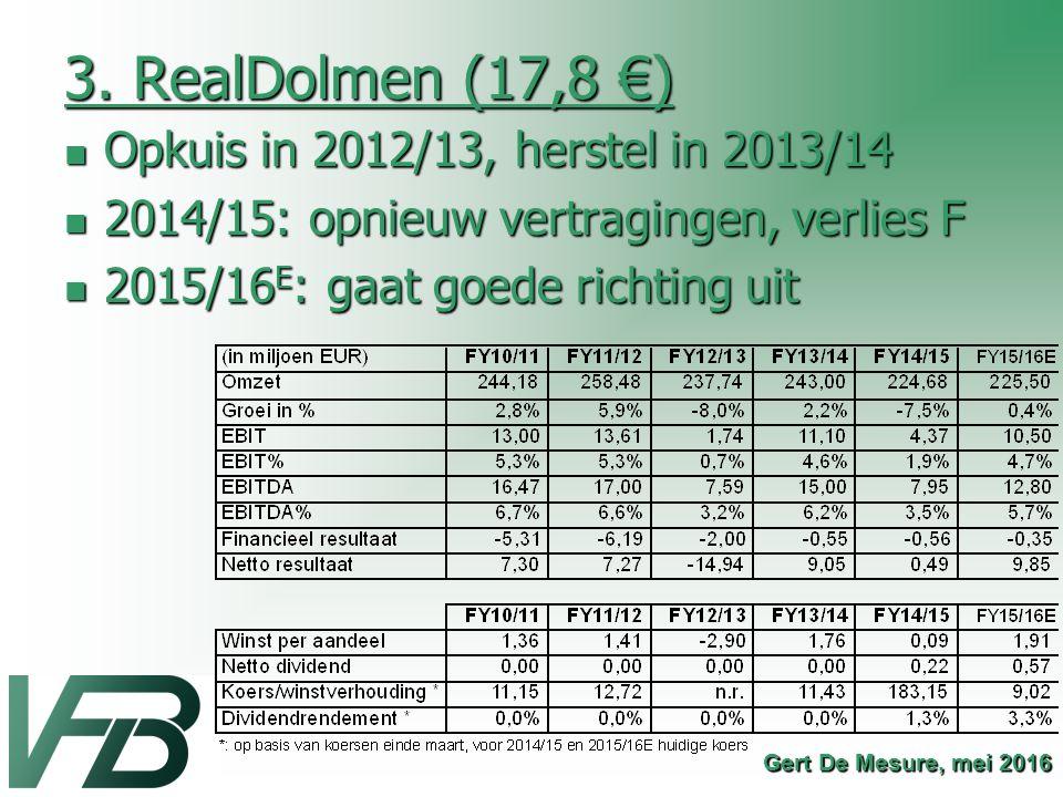 3. RealDolmen (17,8 €) Opkuis in 2012/13, herstel in 2013/14