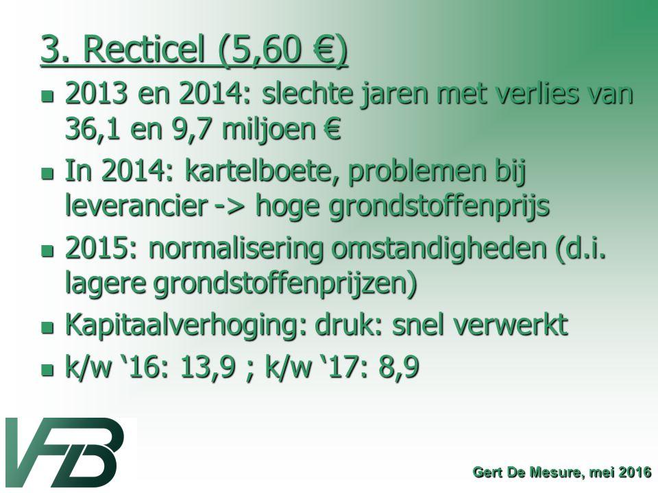 3. Recticel (5,60 €) 2013 en 2014: slechte jaren met verlies van 36,1 en 9,7 miljoen €
