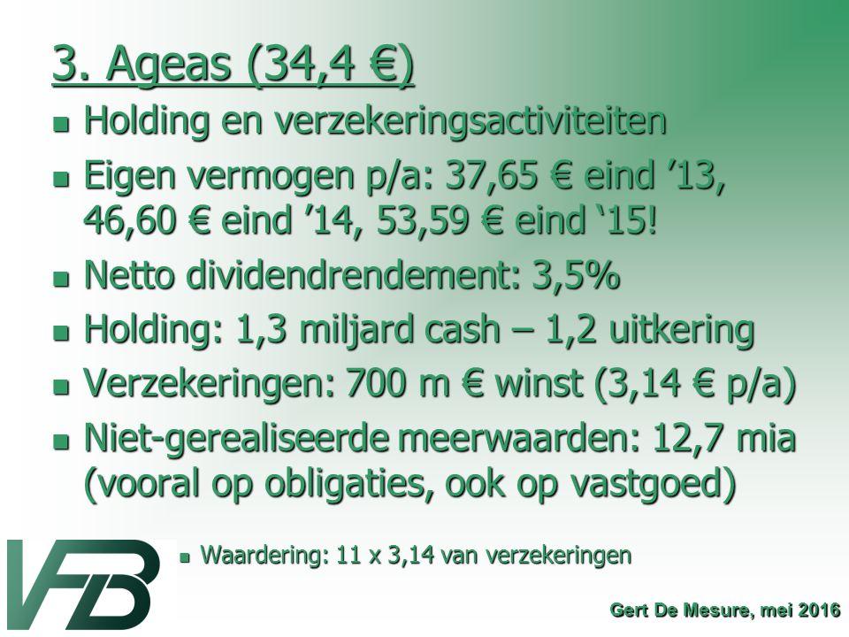3. Ageas (34,4 €) Holding en verzekeringsactiviteiten