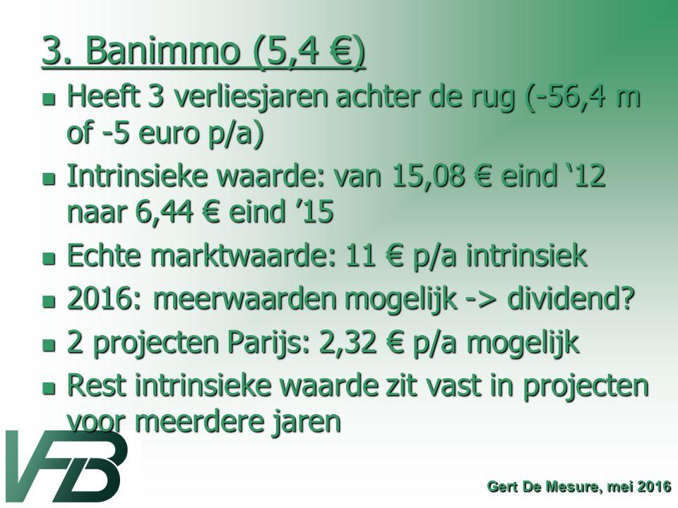 3. Banimmo (5,4 €) Heeft 3 verliesjaren achter de rug (-56,4 m of -5 euro p/a) Intrinsieke waarde: van 15,08 € eind '12 naar 6,44 € eind '15.