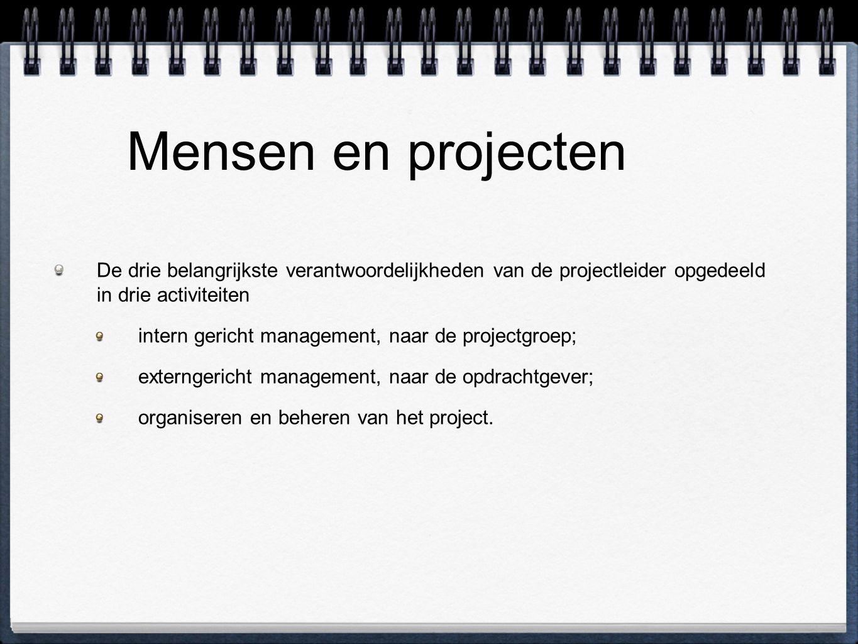 Mensen en projecten De drie belangrijkste verantwoordelijkheden van de projectleider opgedeeld in drie activiteiten.