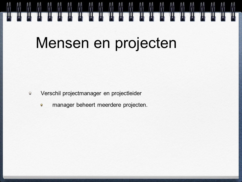 Mensen en projecten Verschil projectmanager en projectleider