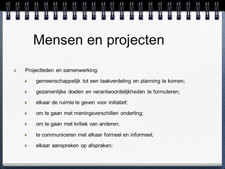 Mensen en projecten Projectleden en samenwerking: