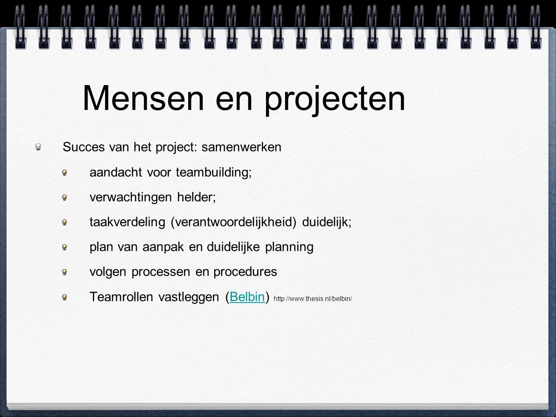 Mensen en projecten Succes van het project: samenwerken