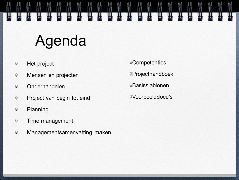 Agenda Competenties Projecthandboek Het project Basissjablonen