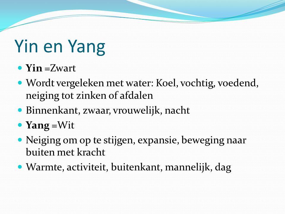 Yin en Yang Yin =Zwart. Wordt vergeleken met water: Koel, vochtig, voedend, neiging tot zinken of afdalen.