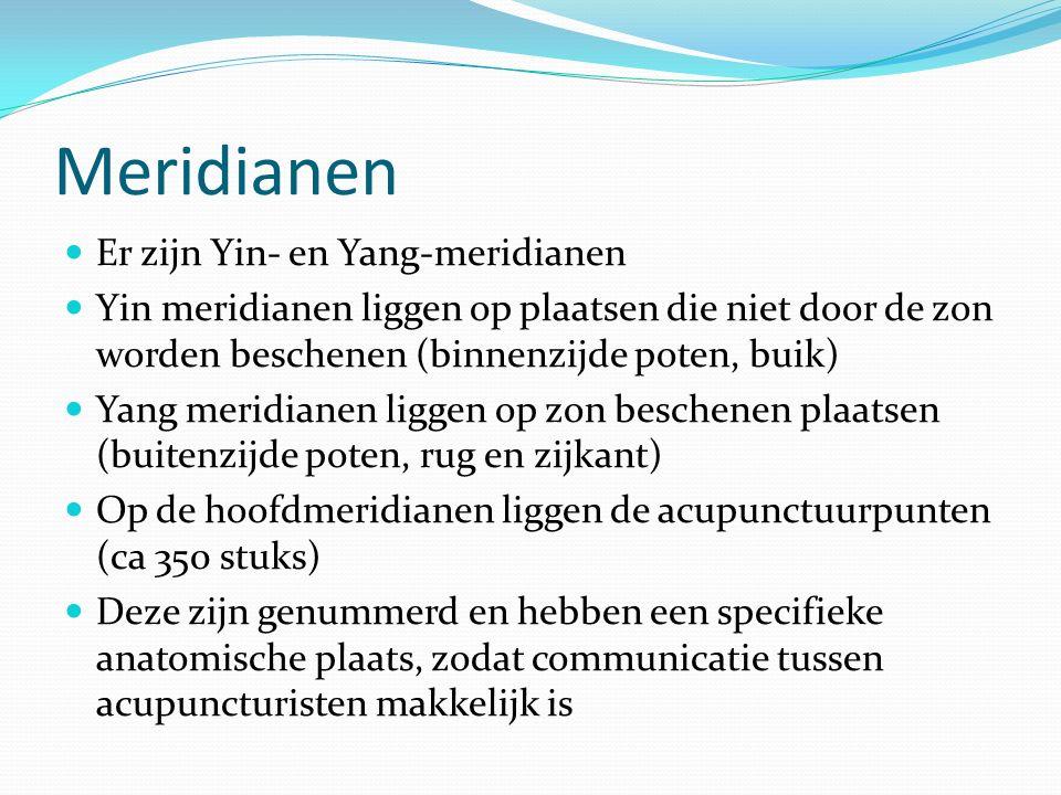 Meridianen Er zijn Yin- en Yang-meridianen