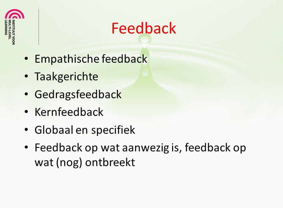 Feedback Empathische feedback Taakgerichte Gedragsfeedback