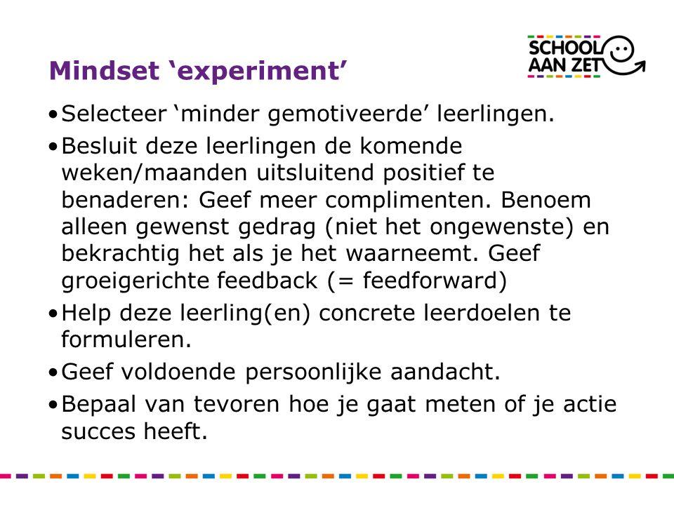 Mindset 'experiment' Selecteer 'minder gemotiveerde' leerlingen.