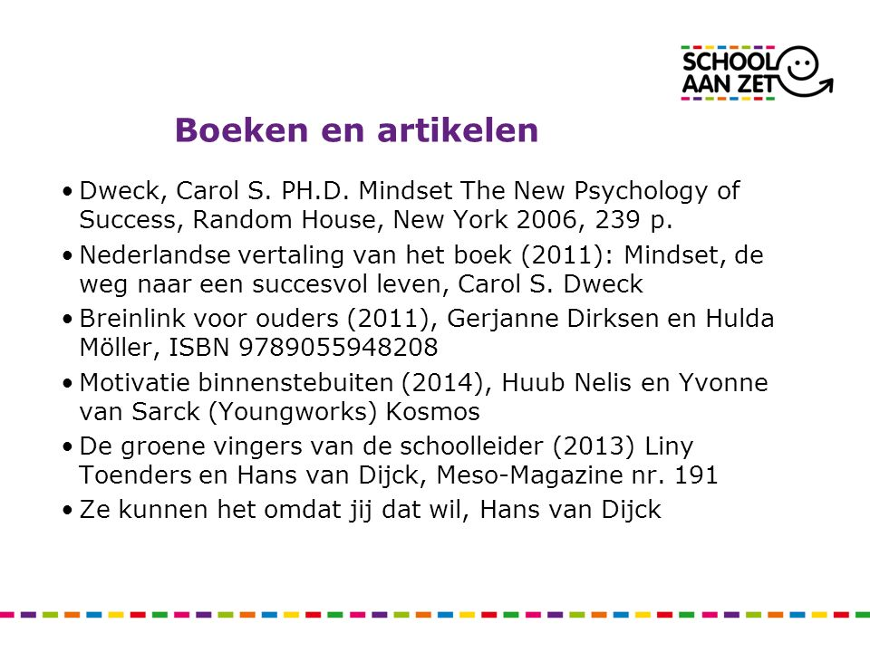 Boeken en artikelen Dweck, Carol S. PH.D. Mindset The New Psychology of Success, Random House, New York 2006, 239 p.