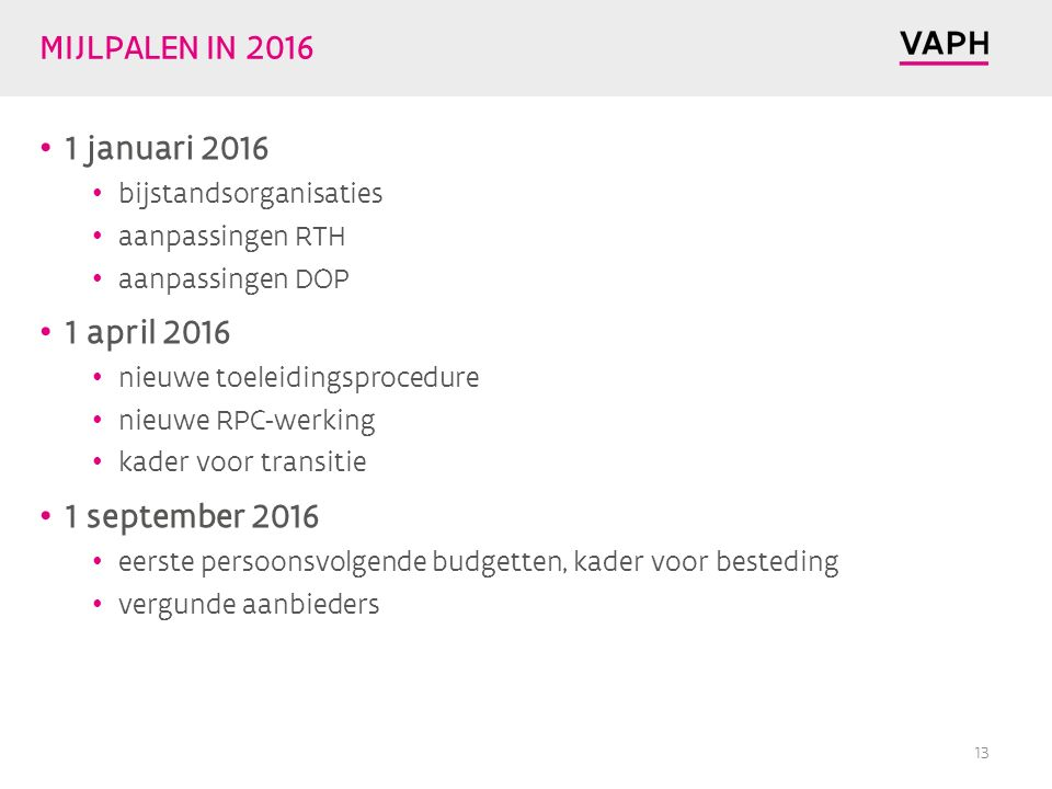 MIJLPALEN IN 2016 1 januari 2016 1 april 2016 1 september 2016