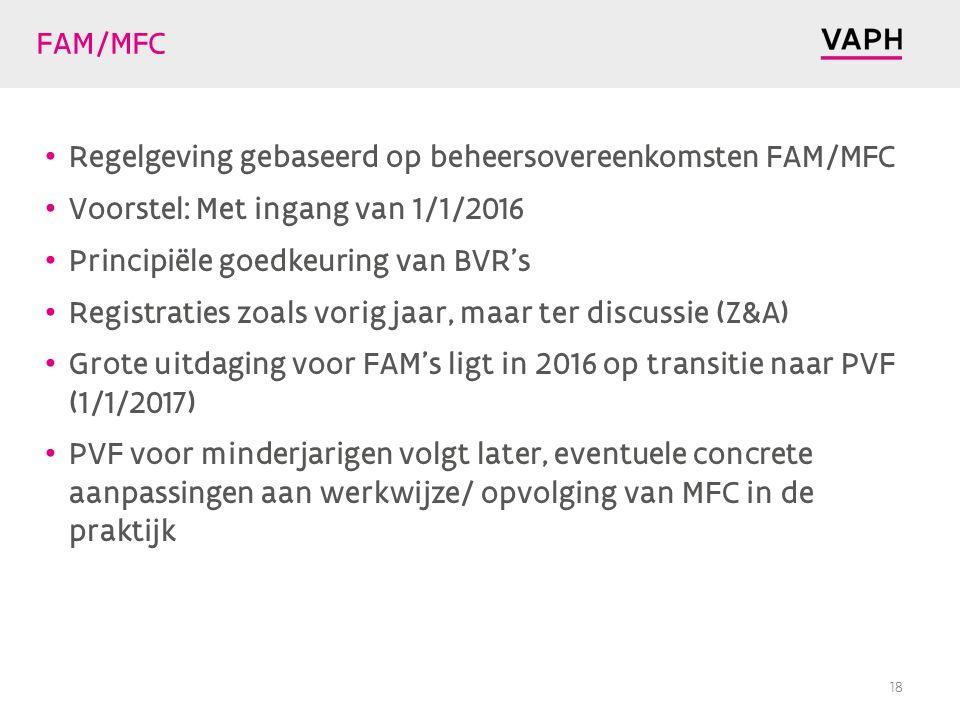 FAM/MFC Regelgeving gebaseerd op beheersovereenkomsten FAM/MFC. Voorstel: Met ingang van 1/1/2016.