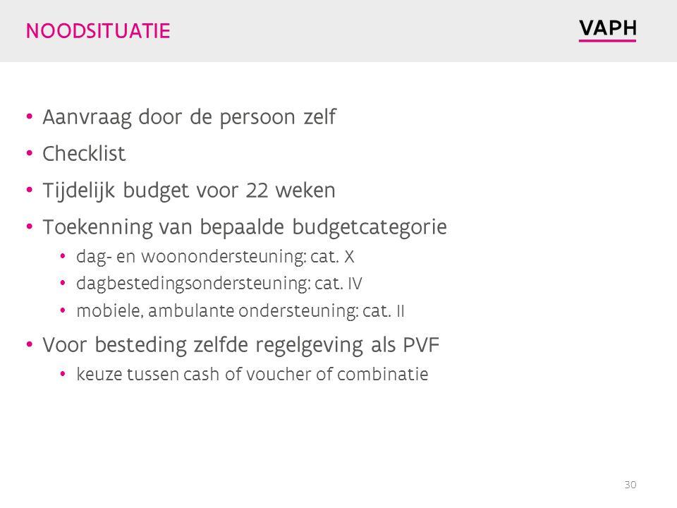 Aanvraag door de persoon zelf Checklist Tijdelijk budget voor 22 weken