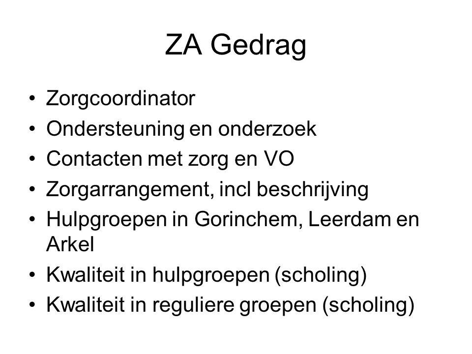 ZA Gedrag Zorgcoordinator Ondersteuning en onderzoek