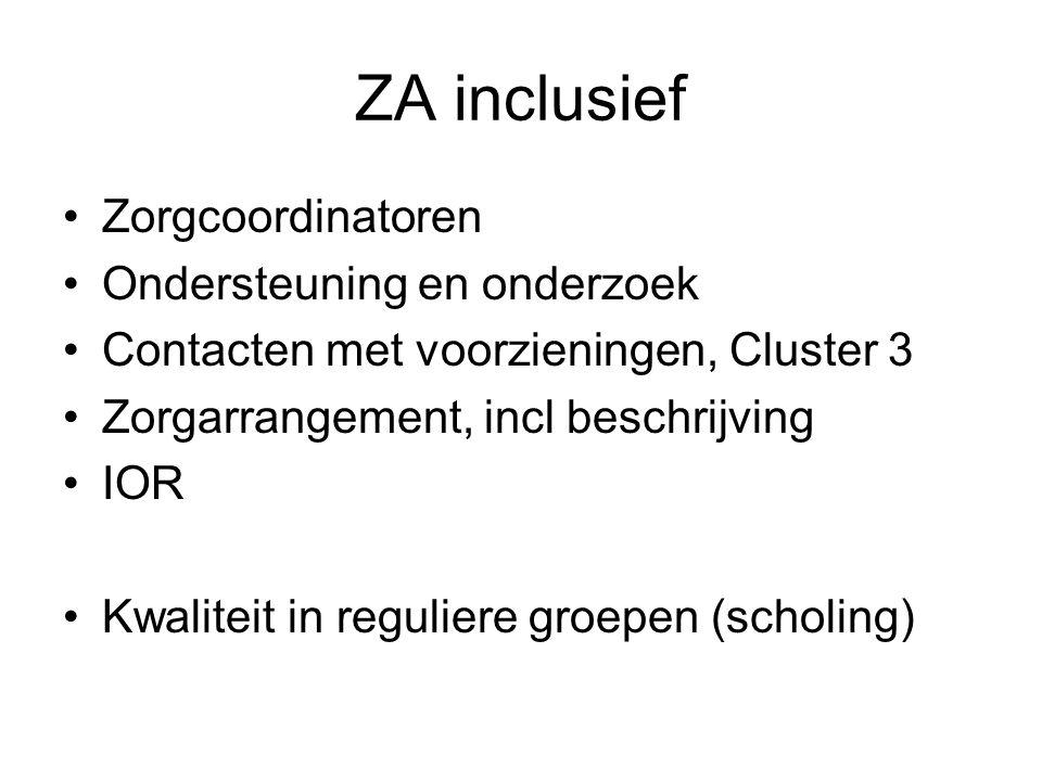 ZA inclusief Zorgcoordinatoren Ondersteuning en onderzoek