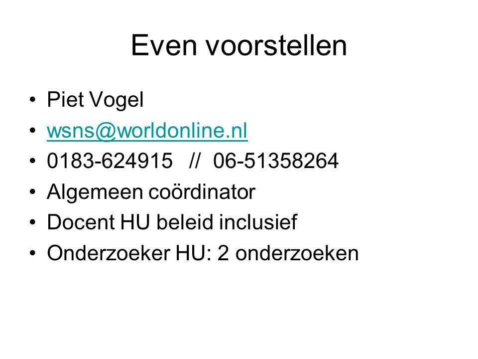 Even voorstellen Piet Vogel wsns@worldonline.nl