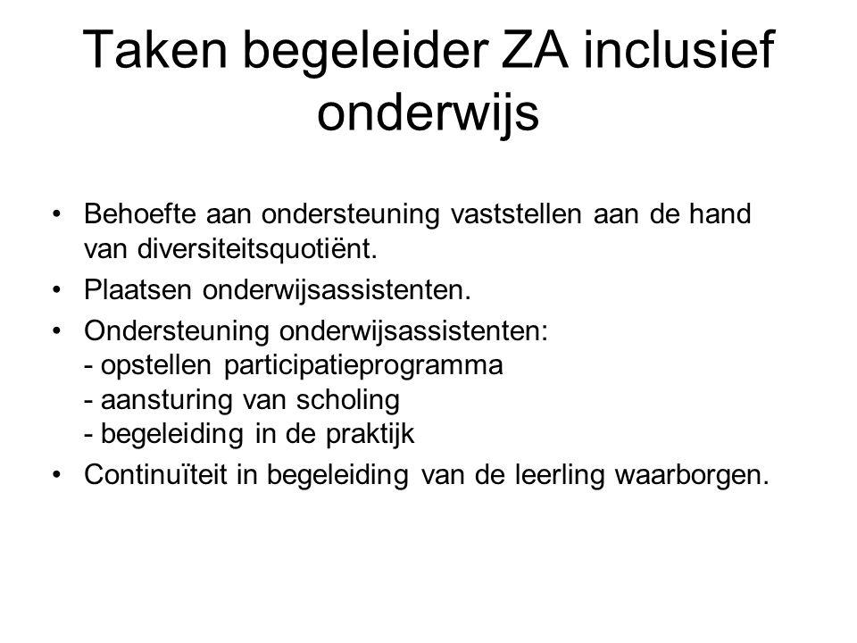 Taken begeleider ZA inclusief onderwijs