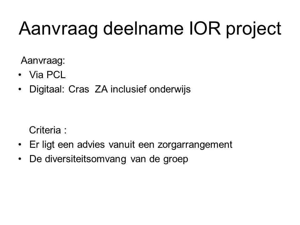 Aanvraag deelname IOR project
