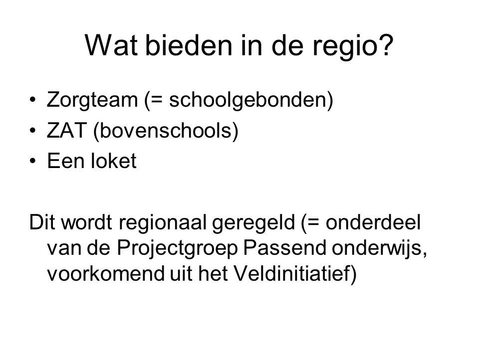 Wat bieden in de regio Zorgteam (= schoolgebonden) ZAT (bovenschools)