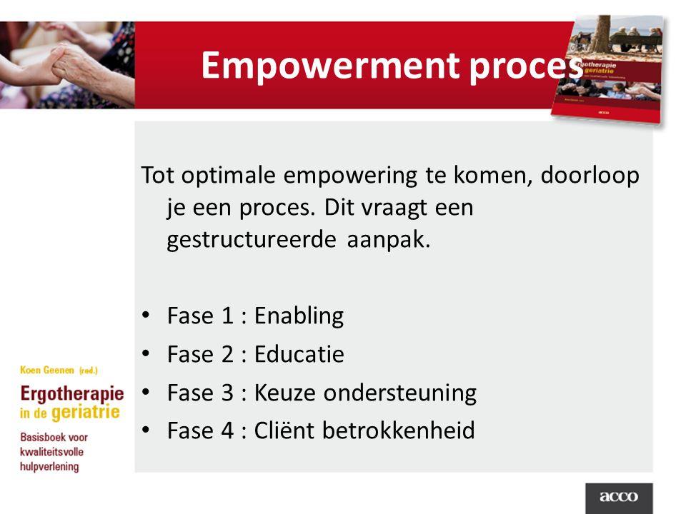 Empowerment proces Tot optimale empowering te komen, doorloop je een proces. Dit vraagt een gestructureerde aanpak.