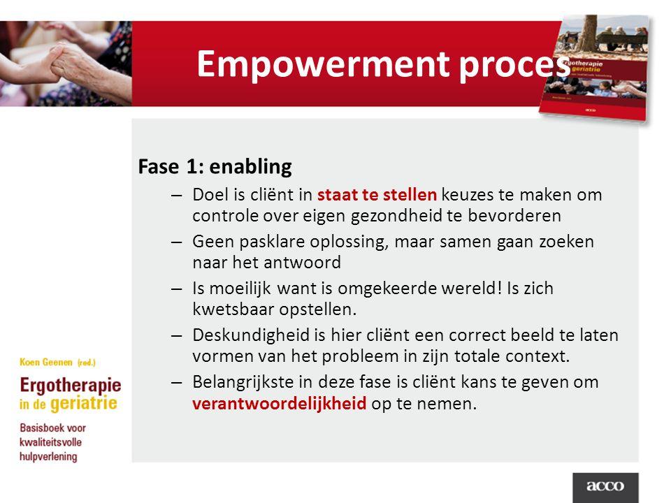 Empowerment proces Fase 1: enabling