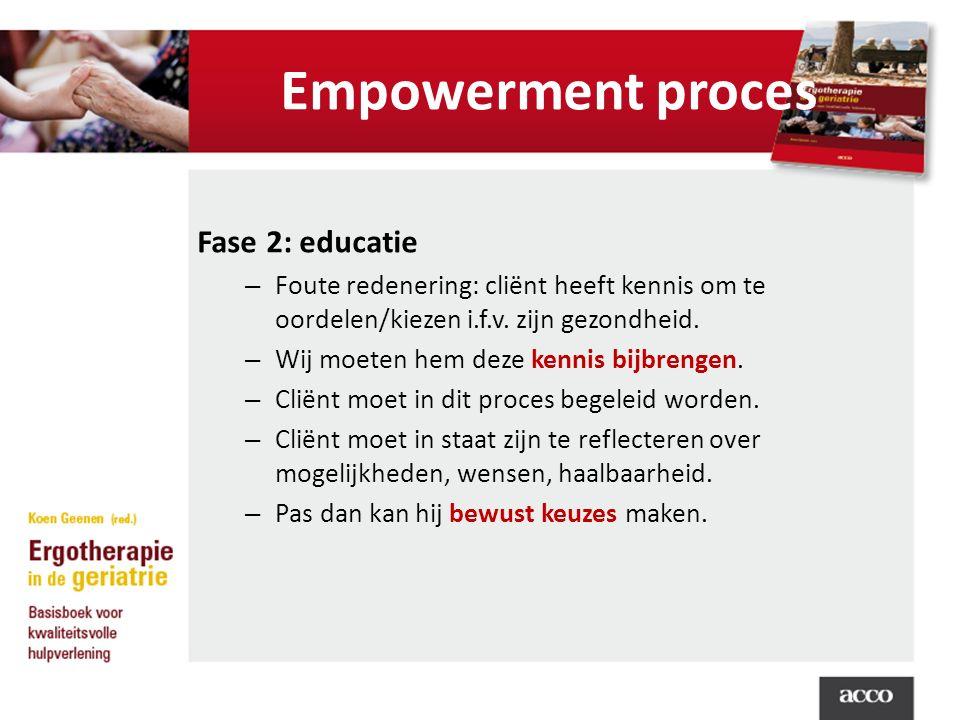 Empowerment proces Fase 2: educatie