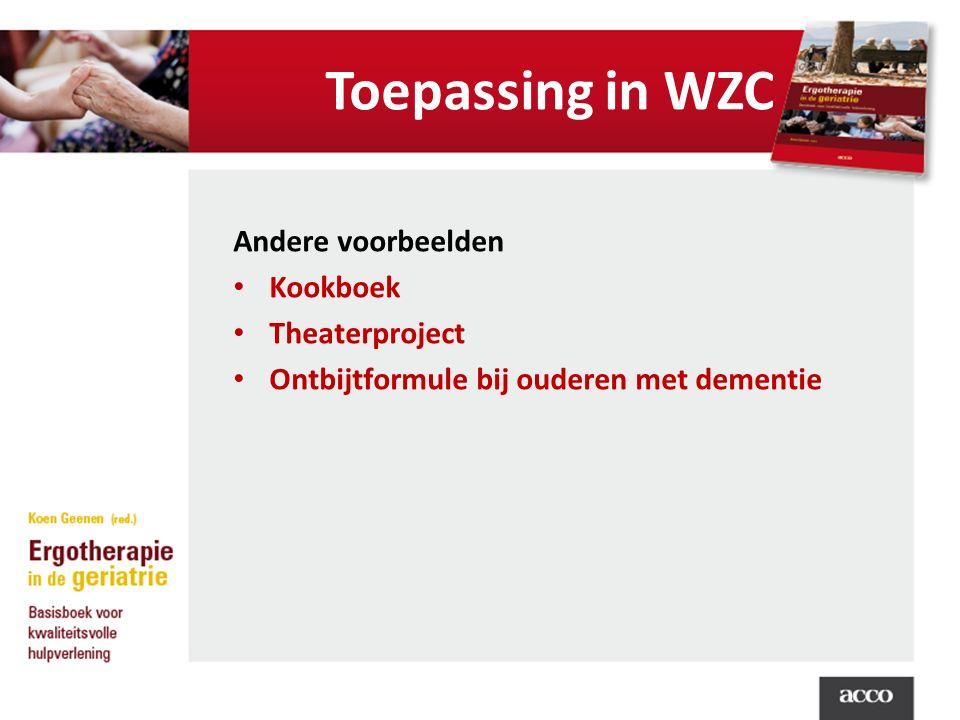 Toepassing in WZC Andere voorbeelden Kookboek Theaterproject