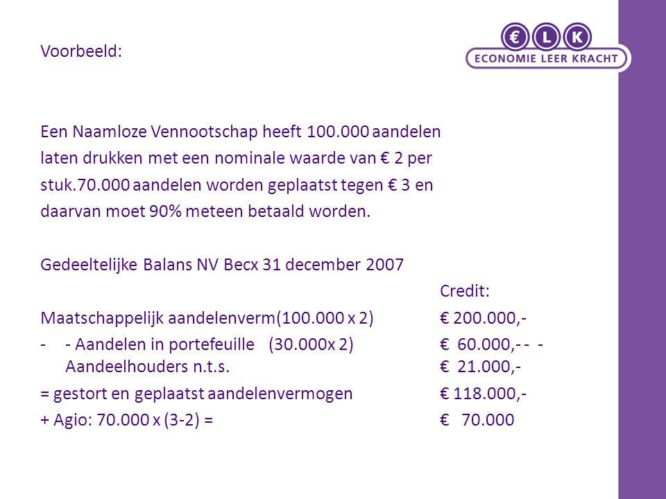 Voorbeeld: Een Naamloze Vennootschap heeft 100.000 aandelen. laten drukken met een nominale waarde van € 2 per.