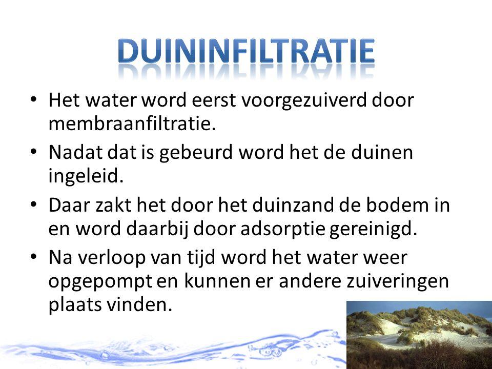 duininfiltratie Het water word eerst voorgezuiverd door membraanfiltratie. Nadat dat is gebeurd word het de duinen ingeleid.