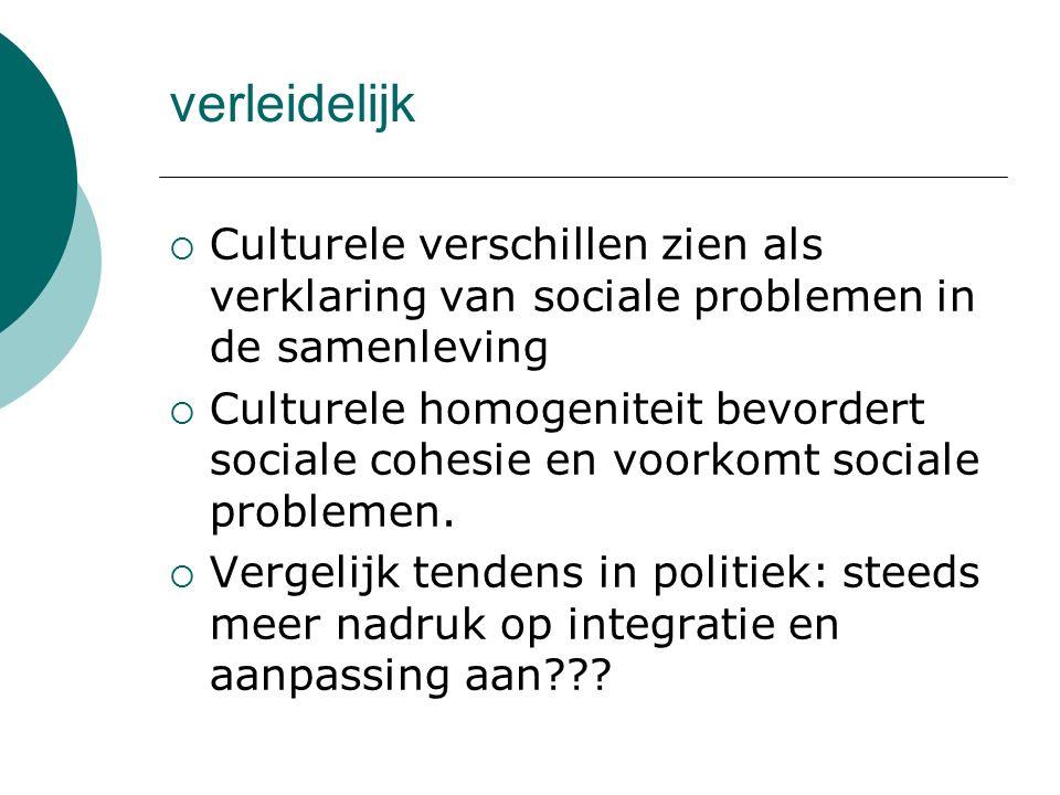 verleidelijk Culturele verschillen zien als verklaring van sociale problemen in de samenleving.