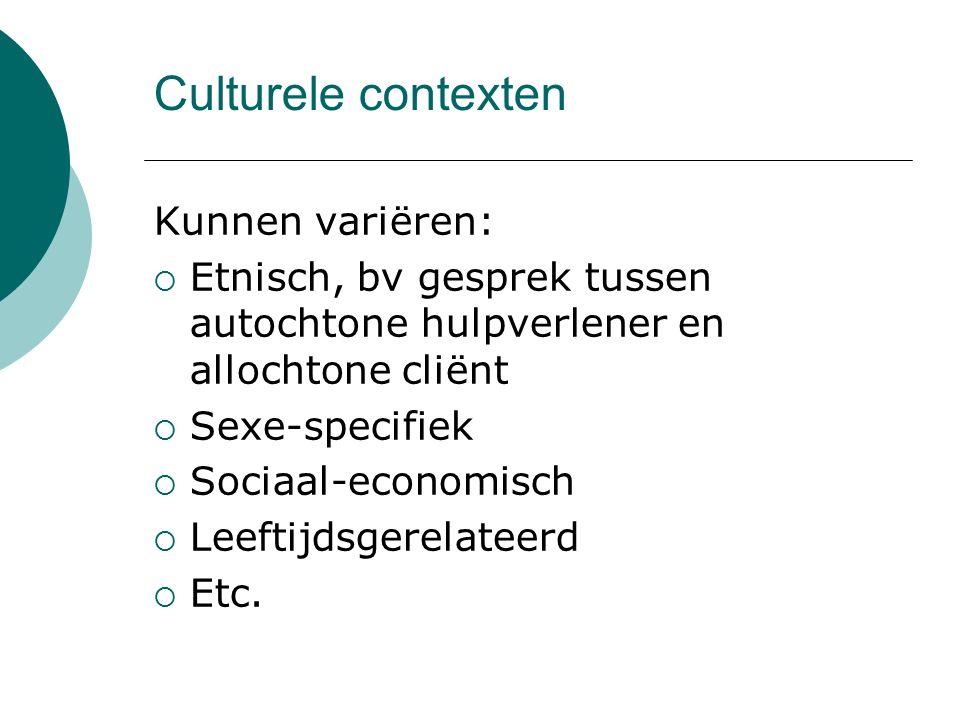 Culturele contexten Kunnen variëren: