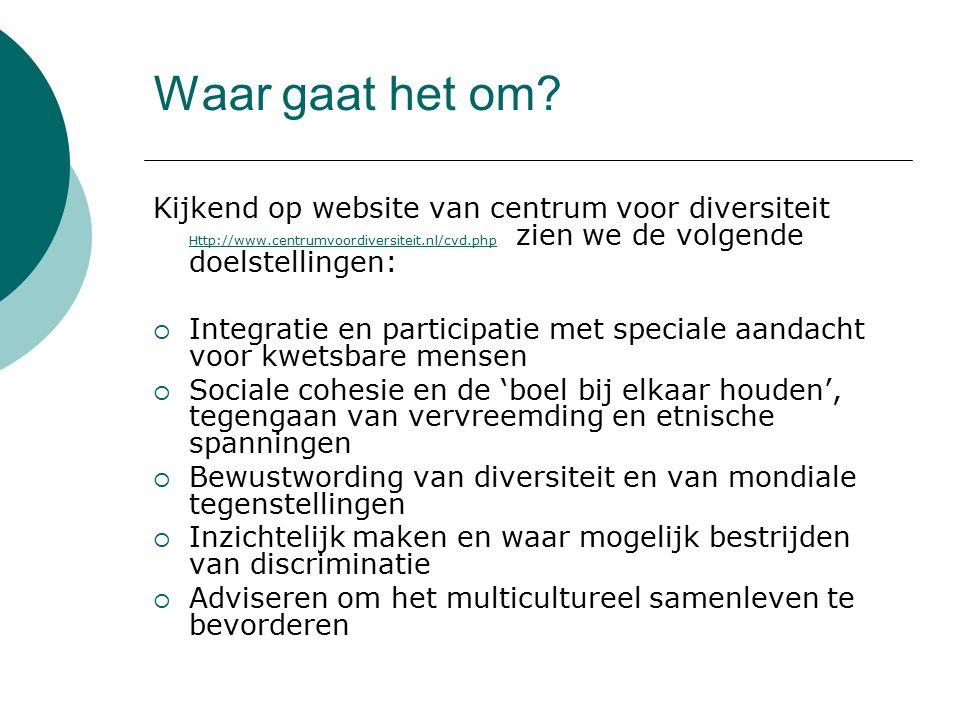 Waar gaat het om Kijkend op website van centrum voor diversiteit Http://www.centrumvoordiversiteit.nl/cvd.php zien we de volgende doelstellingen: