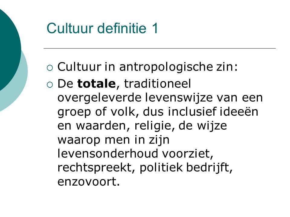 Cultuur definitie 1 Cultuur in antropologische zin: